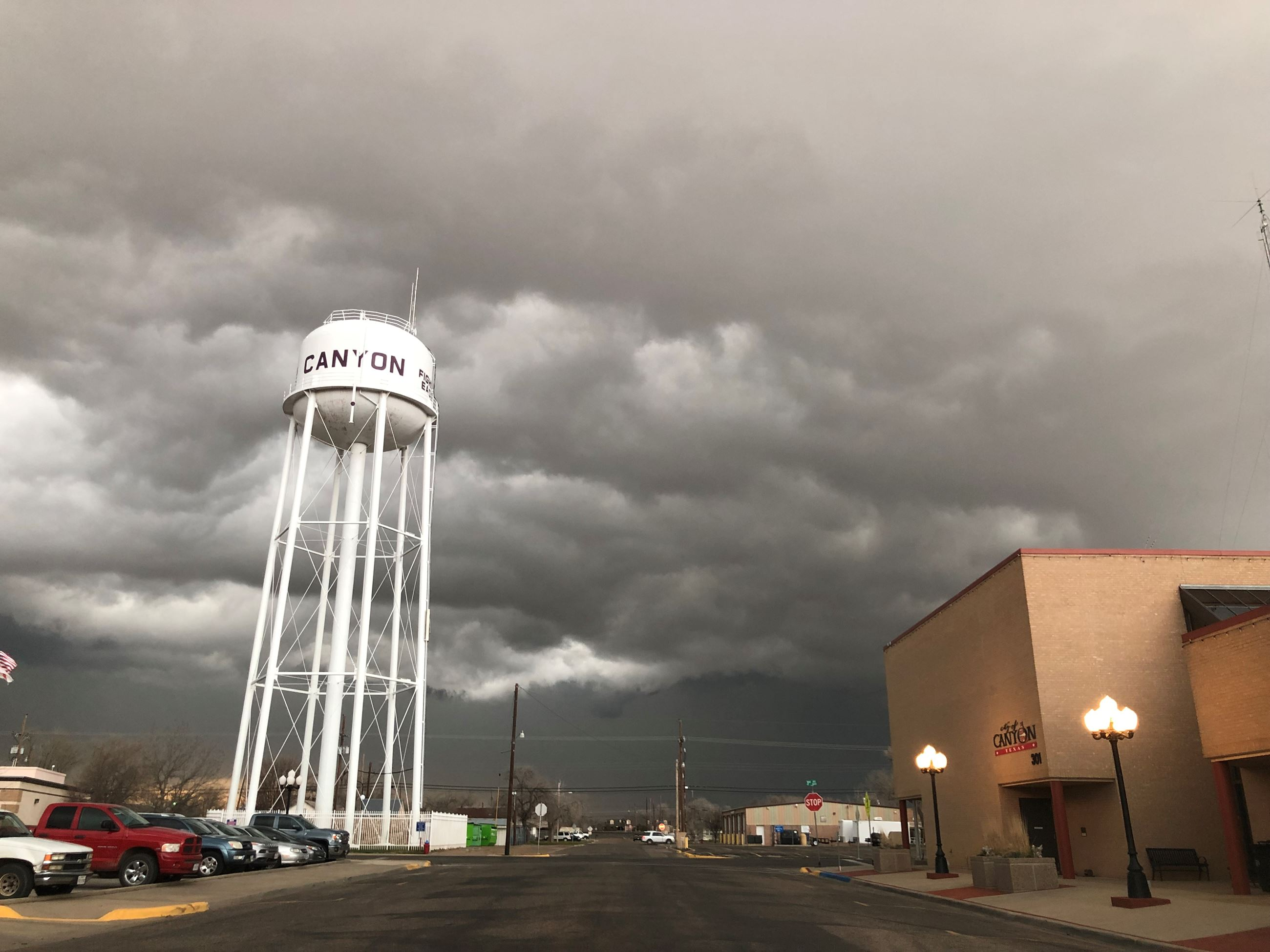 Stormy skies by downtown water tower 2019