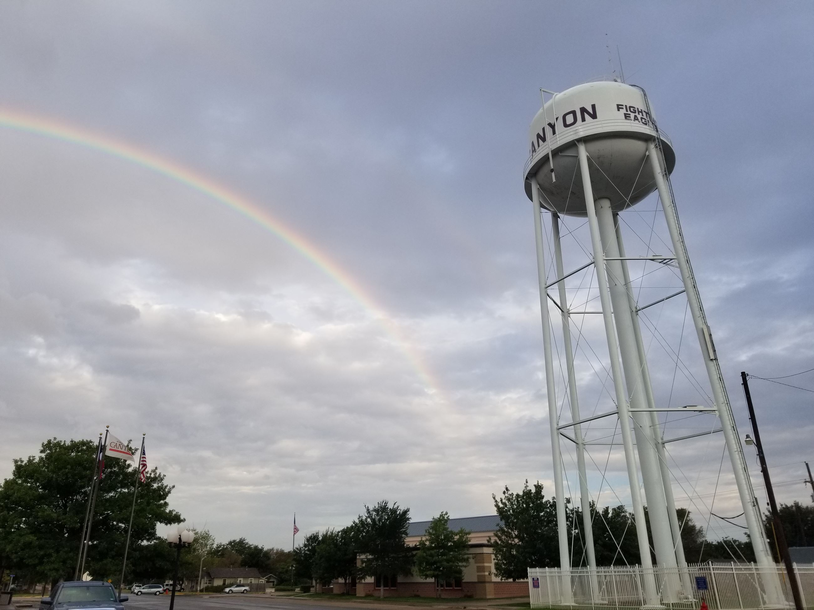 Water Tower with Rainbow